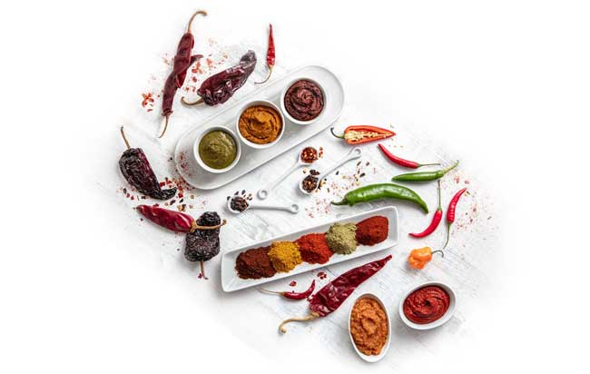 whole chiles, chili pastes, and powders