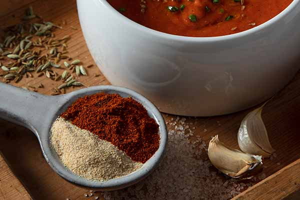 chili powder with chile, cumin, garlic powder, sea salt, and other herbs and spices
