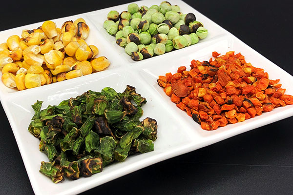 fire roasted dehydrated vegetables including dried green beans, corn, peas, and carrots