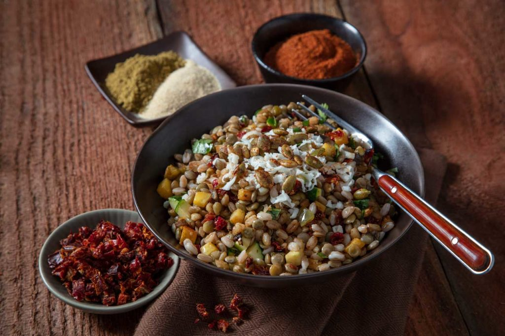plant-based meal using dried tomatoes, ground chile peppers, and craft smoked ingredients